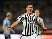Paulo Dybala of Juventus FC in celebrates a goal during the Italian Super Cup final football match between Juventus and Lazio at Shanghai Stadium on...
