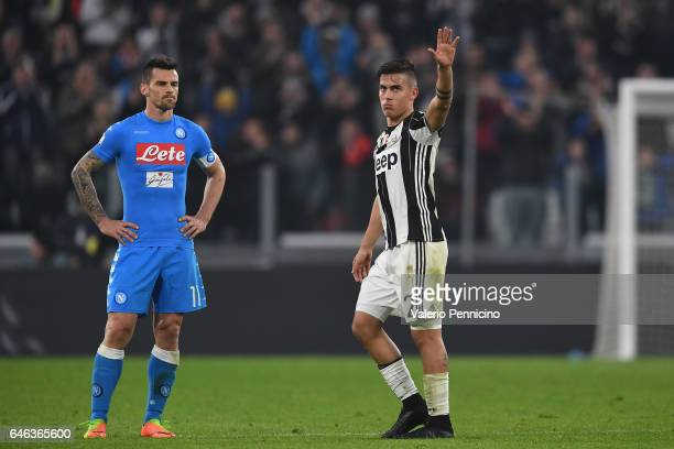 Paulo Dybala of Juventus FC is replaced during the TIM Cup match between Juventus FC and SSC Napoli at Juventus Arena on February 28 2017 in Turin...