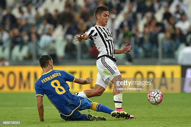 Paulo Dybala of Juventus FC is tackled by Bruno Fernandes of Udinese Calcio during the Serie A match between Juventus FC and Udinese Calcio at...