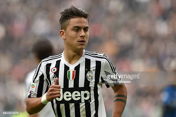 Paulo Dybala of Juventus FC looks on during the Serie A match between Juventus FC and Atalanta BC at Juventus Arena on October 25 2015 in Turin Italy