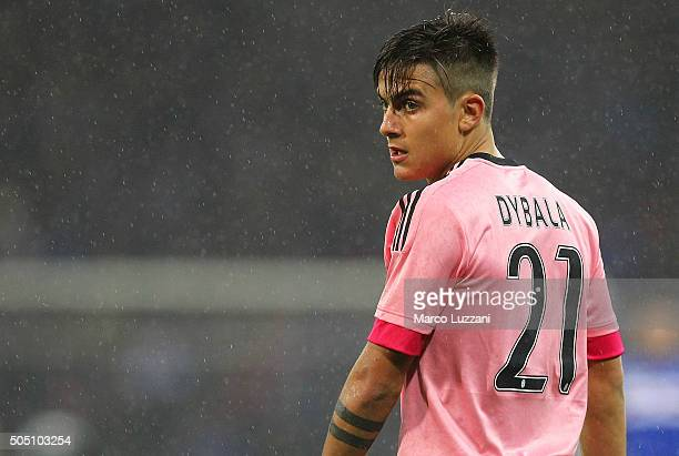 Paulo Dybala of Juventus FC looks on during the Serie A match between UC Sampdoria and Juventus FC at Stadio Luigi Ferraris on January 10 2016 in...