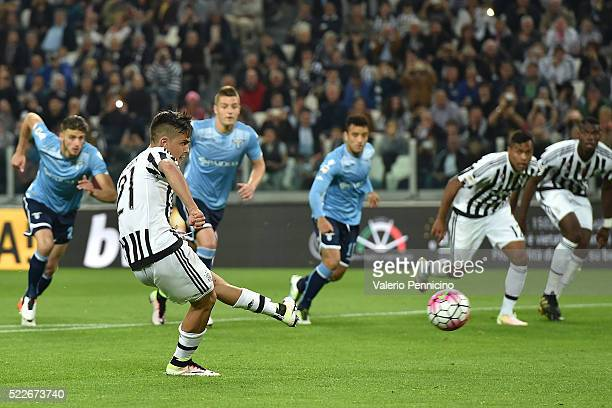 Paulo Dybala of Juventus FC scores his goal from the penalty spot during the Serie A match between Juventus FC and SS Lazio at Juventus Arena on...