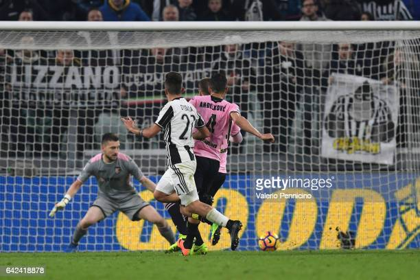 Paulo Dybala of Juventus FC scores his second goal during the Serie A match between Juventus FC and US Citta di Palermo at Juventus Stadium on...