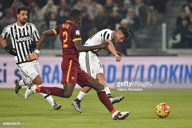 Paulo Dybala of Juventus FC scores the opening goal during the Serie A match between Juventus FC and AS Roma at Juventus Arena on January 24 2016 in...