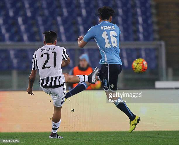 Paulo Dybala of Juventus FC scores the team's second goal during the Serie A match between SS Lazio and Juventus FC at Stadio Olimpico on December 4...