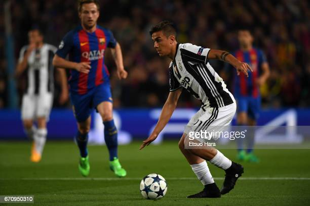 Paulo Dybala of Juventus in action during the UEFA Champions League Quarter Final second leg match between FC Barcelona and Juventus at Camp Nou on...