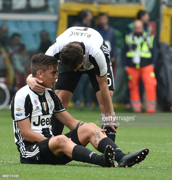Paulo Dybala of Juventus injured during the Serie A match between UC Sampdoria and Juventus FC at Stadio Luigi Ferraris on March 19 2017 in Genoa...