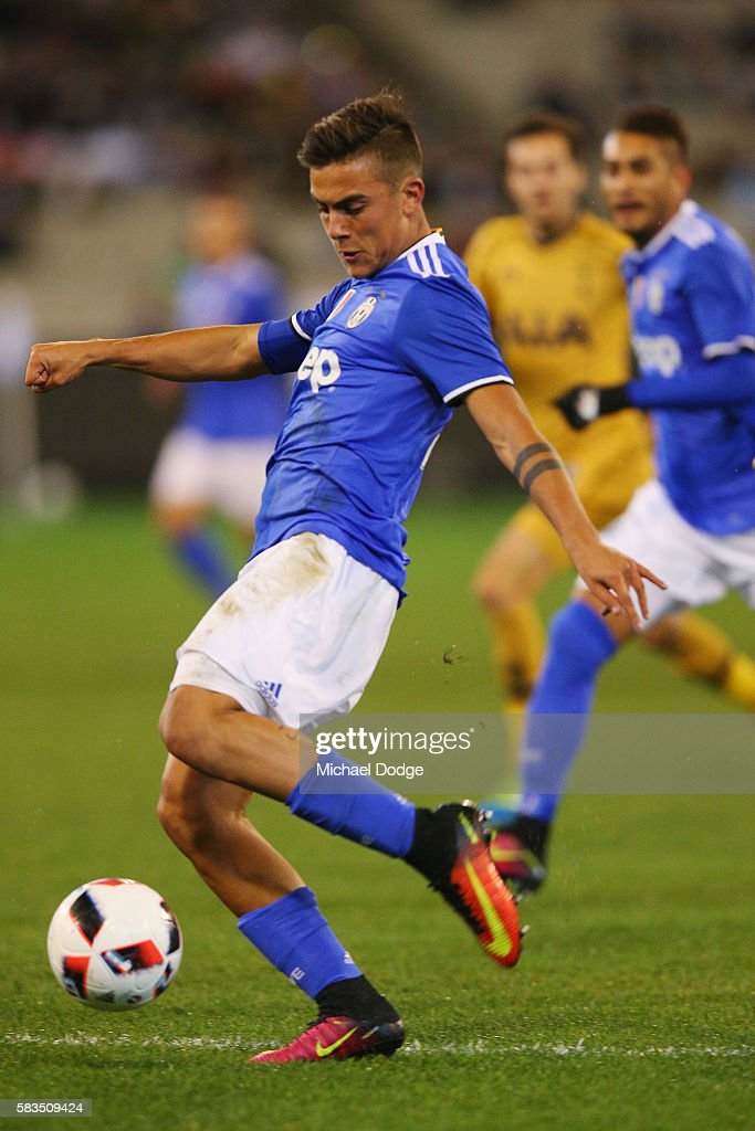 Paulo Dybala of Juventus kicks the ball for a goal during the 2016 International Champions Cup match between Juventus FC and Tottenham Hotspur at...