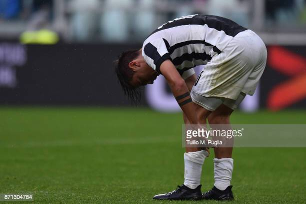 Paulo Dybala of Juventus looks on during the Serie A match between Juventus and Benevento Calcio on November 5 2017 in Turin Italy