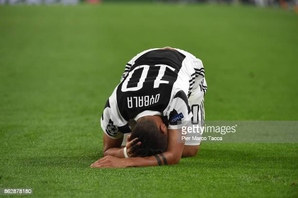 Paulo Dybala of Juventus reacts during the UEFA Champions League group D match between Juventus and Sporting CP at Juventus Stadium on October 18...