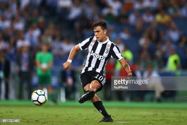 Paulo Dybala of Juventus scoring the penalty of 22 during the Italian Supercup match between Juventus and SS Lazio at Stadio Olimpico on August 13...