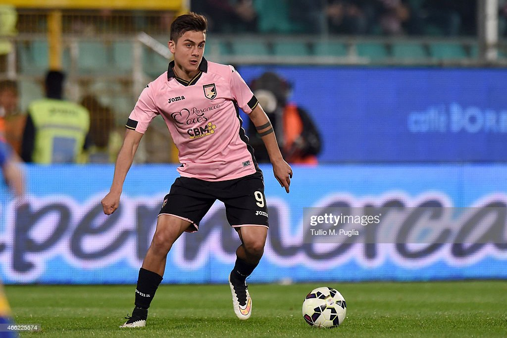 Paulo Dybala of Palermo in action during the Serie A match between US Citta di Palermo and Juventus FC at Stadio Renzo Barbera on March 14 2015 in...