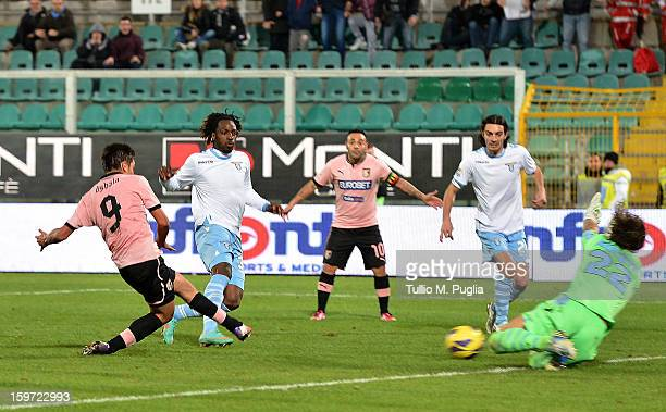 Paulo Dybala of Palermo scores his team's second goal during the Serie A match between US Citta di Palermo and SS Lazio at Stadio Renzo Barbera on...