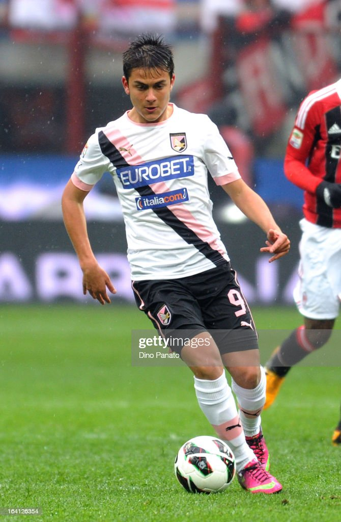 Paulo Dybala of US Citta di Palermo in action during the Serie A match between AC Milan and US Citta di Palermo at San Siro Stadium on March 17, 2013 in Milan, Italy.
