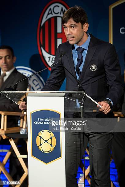 Paulo Ferreira of Chelsea FC addresses the crowd which including legends Mauro Tassotti of AC Milan Emilio Butragueno of Real Madrid Youri Djorkaeff...