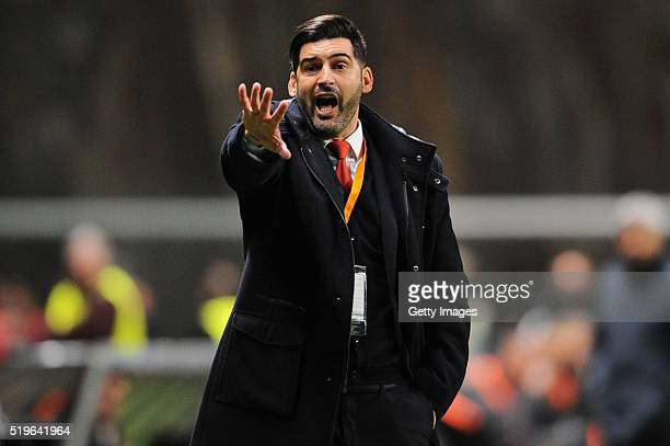 Paulo Fonseca SC Braga coach during the UEFA Europa League Quarter Final first leg match between SC Braga and Shakhtar Donetsk at the Estadio...