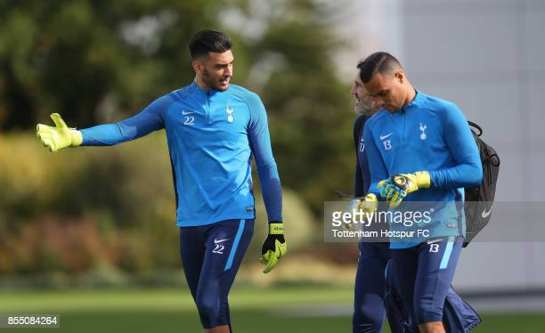 Paulo Gazzaniga and Michel Vorm of Tottenham with goalkeeping coach Toni Jimenez during the Tottenham Hotspur training session at Tottenham Hotspur...