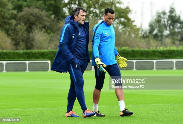 Paulo Gazzaniga and Toni Jimenez during the Tottenham Hotspur training session at Tottenham Hotspur Training Centre on October 23 2017 in Enfield...
