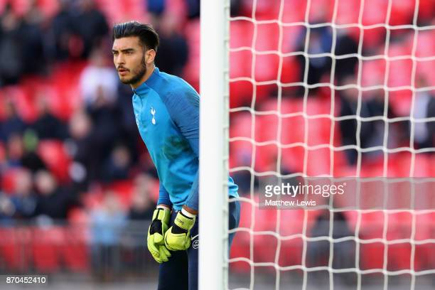 Paulo Gazzaniga f Tottenham Hotspur warms up prior to the Premier League match between Tottenham Hotspur and Crystal Palace at Wembley Stadium on...