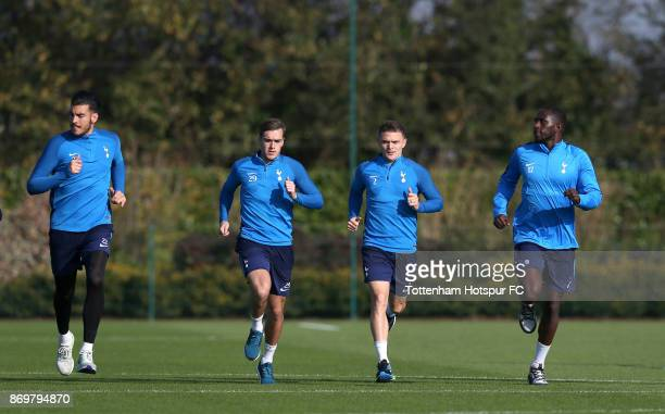 Paulo Gazzaniga Harry Winks Kieran Trippier and Moussa Sissoko of Tottenham during the Tottenham Hotspur training session at Tottenham Hotspur...