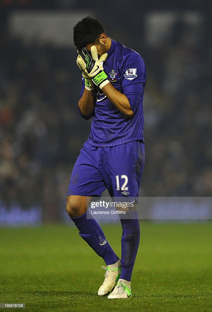 Paulo Gazzaniga of Southampton looks dejected during the Barclays Premier League match between West Bromwich Albion and Southampton at The Hawthorns on November 5, 2012 in West Bromwich, England.