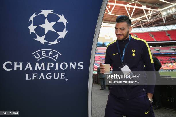 Paulo Gazzaniga of Tottenham arrives prior to the UEFA Champions League group H match between Tottenham Hotspur and Borussia Dortmund at Wembley...