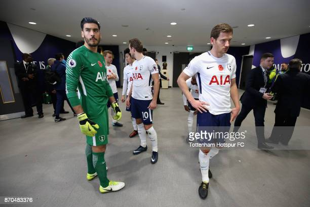 Paulo Gazzaniga of Tottenham Hotspur and Jan Vertonghen of Tottenham Hotspur wait to enter the pitch during the Premier League match between...