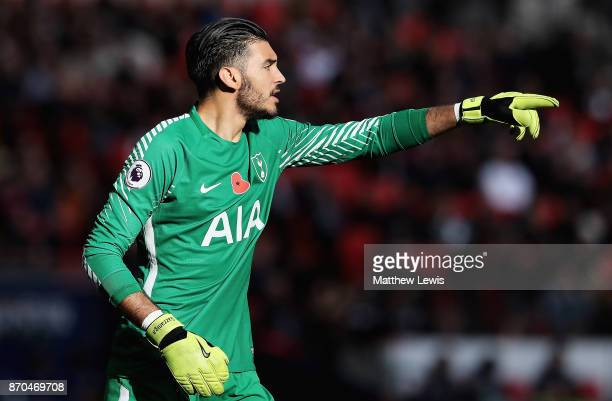Paulo Gazzaniga of Tottenham Hotspur in action during the Premier League match between Tottenham Hotspur and Crystal Palace at Wembley Stadium on...