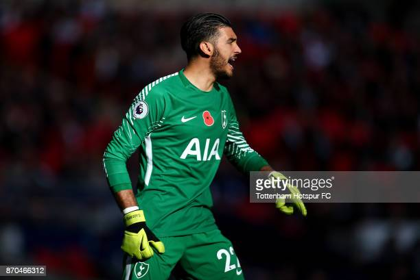 Paulo Gazzaniga of Tottenham Hotspur looks on during the Premier League match between Tottenham Hotspur and Crystal Palace at Wembley Stadium on...