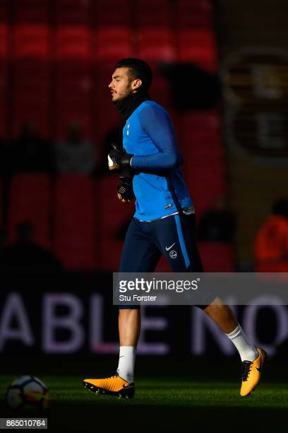 Paulo Gazzaniga of Tottenham Hotspur warms up prior to the Premier League match between Tottenham Hotspur and Liverpool at Wembley Stadium on October...