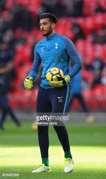 Paulo Gazzaniga of Tottenham Hotspur warms up prior to the Premier League match between Tottenham Hotspur and Crystal Palace at Wembley Stadium on...