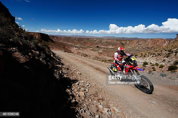 Paulo Goncalves of Portugal riding for Team HRC on the HondaCRF450 Rally competes near the Salinas Grandes during Stage 10 on day 11 of the Dakar...
