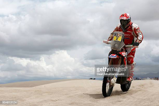 Paulo Goncalves of Portugal riding on and for HONDA CRF450RALLY TEAM HRC competes on day 11 stage ten between Belen and La Rioja during the 2016...