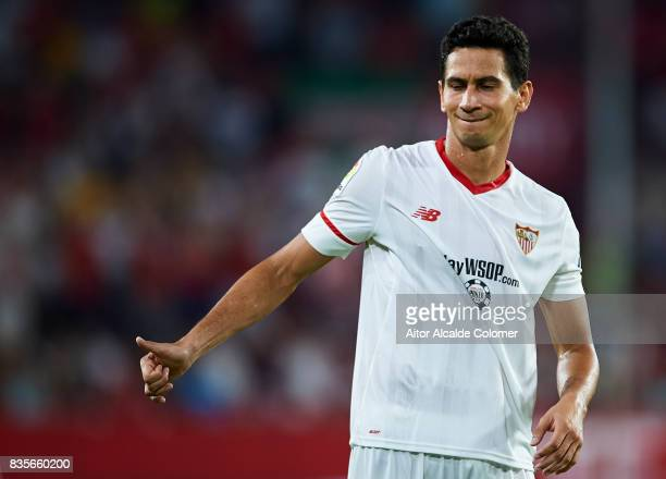 Paulo Henrique Ganso of Sevilla FC reacts during the La Liga match between Sevilla and Espanyol at Estadio Ramon Sanchez Pizjuan on August 19 2017 in...