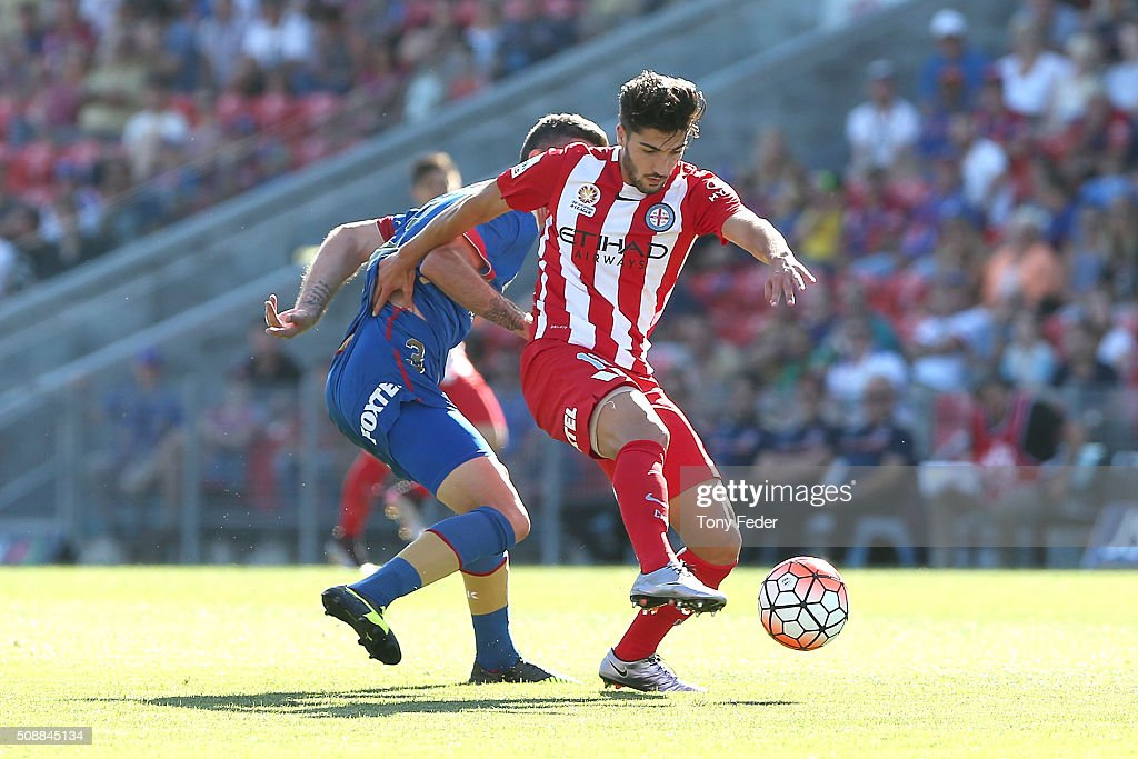 Paulo Retre of Melbourne City controls the ball during the round 18 A-League match between the Newcastle Jets and Melbourne City FC at Hunter Stadium on February 7, 2016 in Newcastle, Australia.