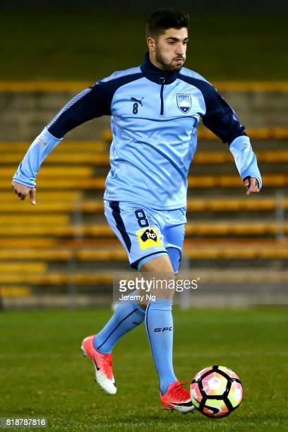Paulo Retre of Sydney FC dribbles the ball during the 2017 Johnny Warren Challenge match between Sydney FC and Earlwood Wanderers at Leichhardt Oval...