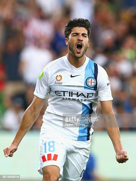 Paulo Retre of the City celebrates scoring a goal during the round 11 ALeague match between Melbourne City FC and Melbourne Victory at AAMI Park on...