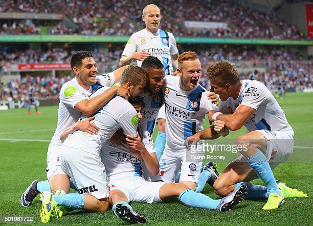 Paulo Retre of the City is congratulated by team mates after scoring a goal during the round 11 ALeague match between Melbourne City FC and Melbourne...