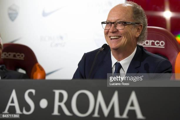 Paulo Roberto Falcao attends a press conference during his visit at As Roma Training Center at Centro Sportivo Fulvio Bernardini on February 21 2017...