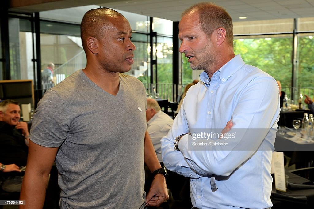 Paulo Sergio and Holger Fach attend the 'Club Of Former National Players' meeting at RheinEnergieStadion on June 10 2015 in Cologne Germany
