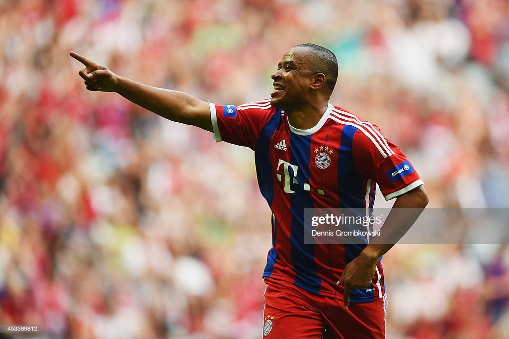 Paulo Sergio of FCB AllStars celebrates after scoring his team's first goal during the friendly match between FC Bayern Muenchen AllStars and...
