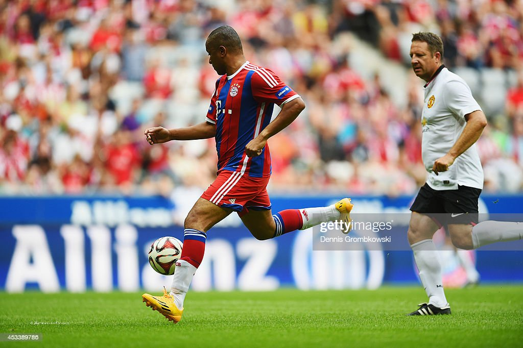 Paulo Sergio of FCB AllStars scores his team's first goal during the friendly match between FC Bayern Muenchen AllStars and Manchester United Legends...