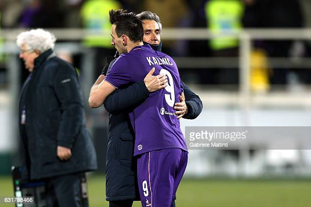 Paulo sousa manager and Nikola Kalinic of ACF Fiorentina celebrates the victory during the Serie A match between ACF Fiorentina and Juventus FC at...