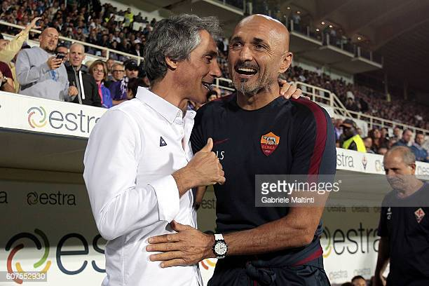 Paulo Sousa manager of ACF Fiorentina and Luciano Spalletti manager of AS Roma during the Serie A match between ACF Fiorentina and AS Roma at Stadio...