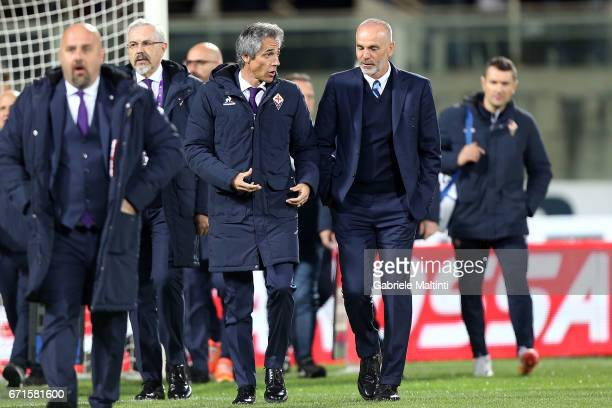 Paulo Sousa manager of ACF Fiorentina and Stefano Pioli manager of FC Internazionale during the Serie A match between ACF Fiorentina v FC...