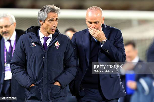 Paulo Sousa manager of ACF Fiorentina and Stefano Pioli managewr of Fc Internazionale during the Serie A match between ACF Fiorentina v FC...