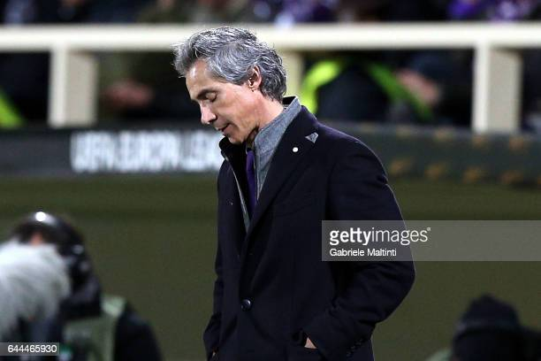 Paulo Sousa manager of ACF Fiorentina shows his dejection during the UEFA Europa League Round of 32 second leg match between ACF Fiorentina and...