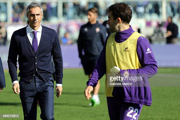 Paulo Sousa manager of AFC Fiorentina and Giuseppe Rossi of ACF Fiorentina during the Serie A match between ACF Fiorentina and Frosinone Calcio at...
