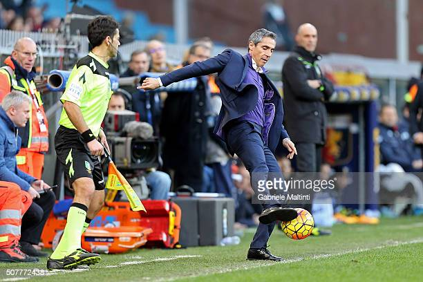Paulo Sousa manager of AFC Fiorentina controls the ball during the Serie A match between Genoa CFC and ACF Fiorentina at Stadio Luigi Ferraris on...