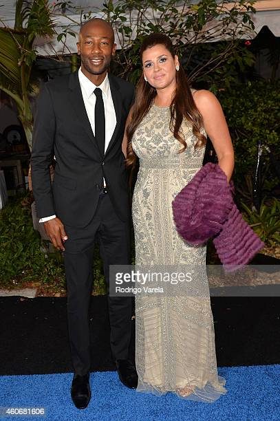 Paulo Wanchope and Brenda Carballo attend the inagural Premios Univision Deportes at Univision Studios on December 17 2014 in Miami Florida